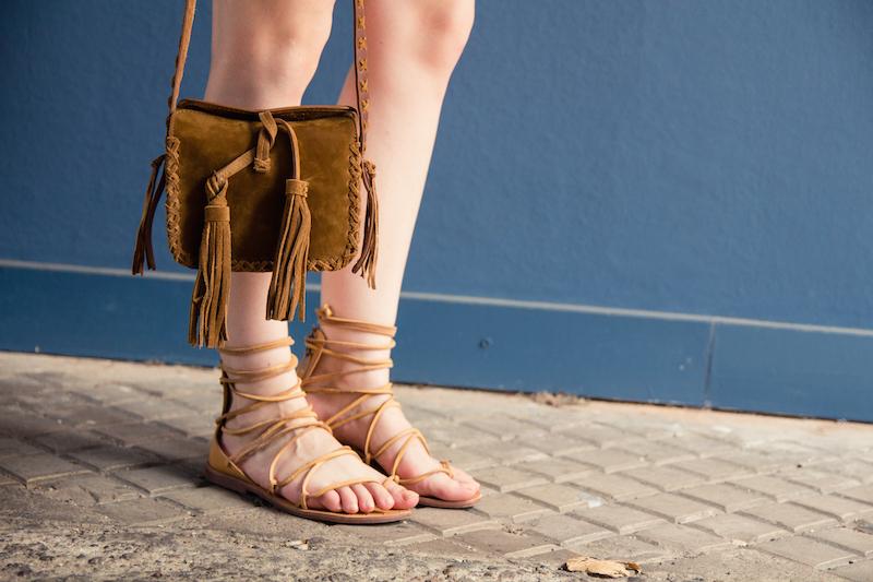 gladiator sandals, fringes bag