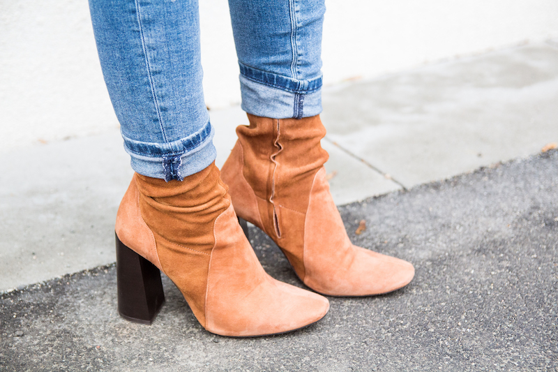 Outfit camel coat, ripped jeans, Wildlederstiefel, high heel suede boots, detail