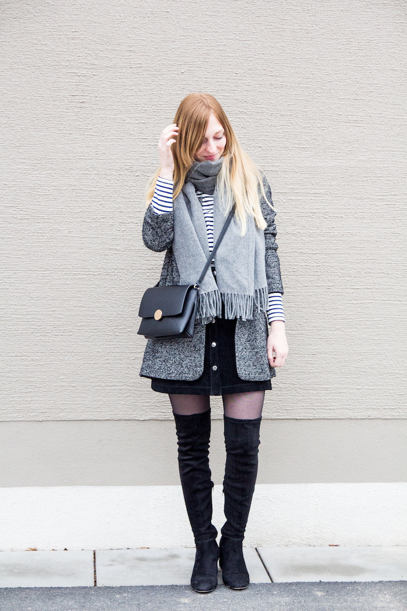 Outfit, Tomboy Blazer, Overknee Stiefel, Streifenpullover