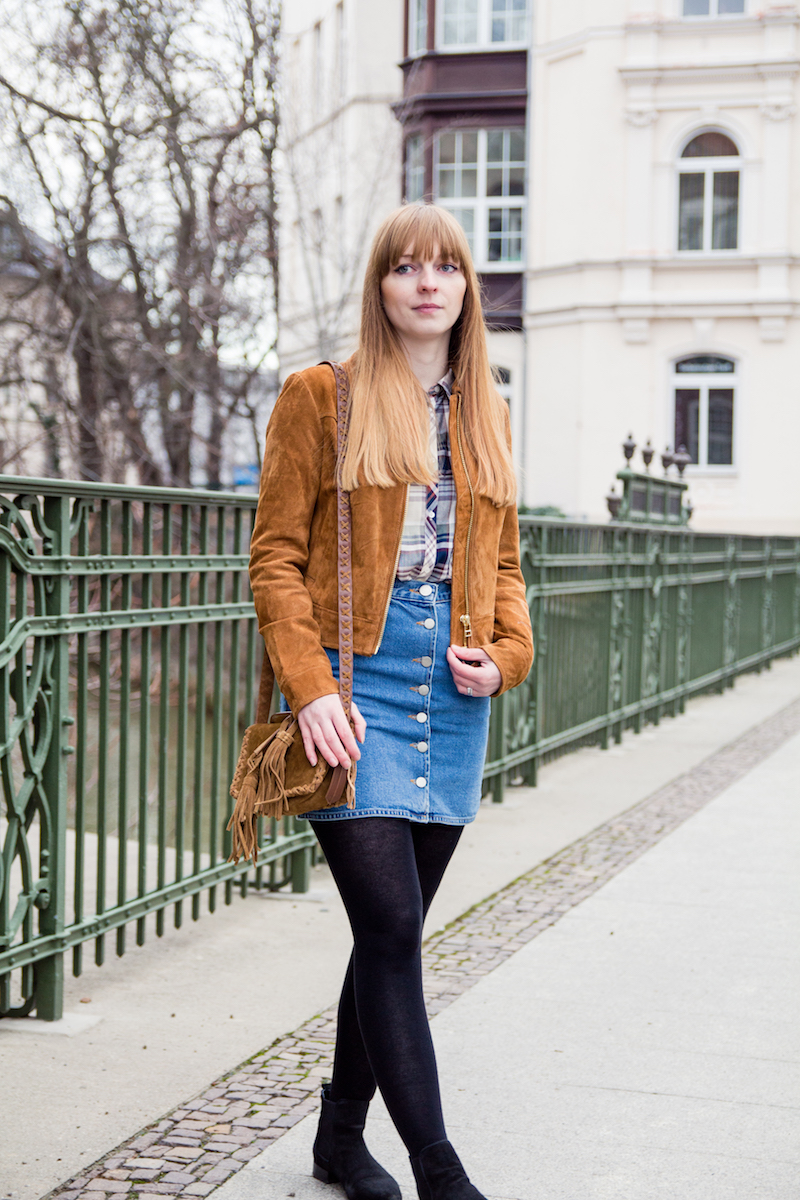 Blogger, Outfit, how to combine, denim skirt, Jeansrock, button down skirt, button front skirt, winter