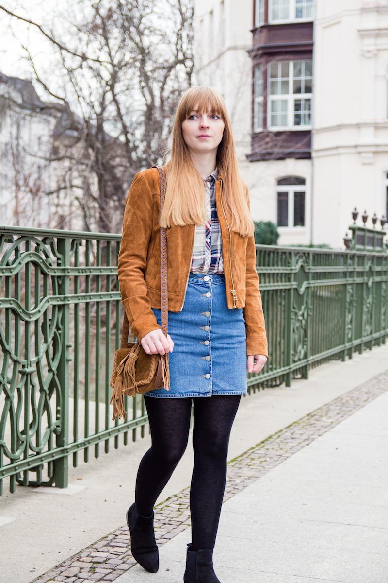 denim skirt, button front skirt, button down skirt, how to, winter, Wildlederjacke
