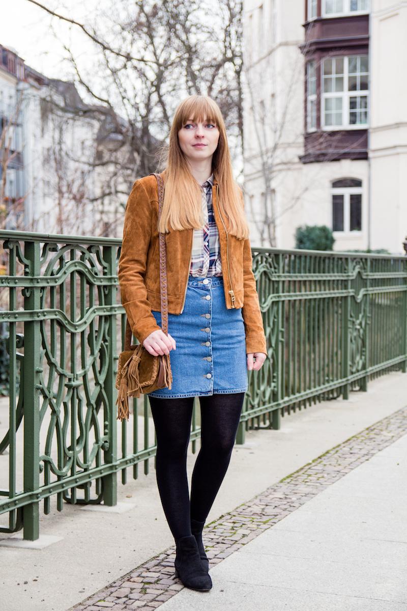 Outfit, Styleblogger, Fashionblogger, suede jacket, braune Wildlederjacke, how to wear, denim skirt, Jeansrock