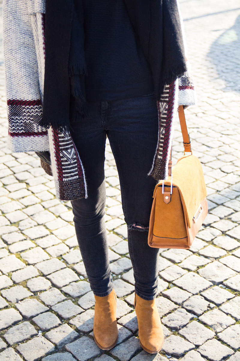 Detail, Bloggeroutfit, Look, Winter, brown city bag, boots, aztec pattern, cardigan Zara
