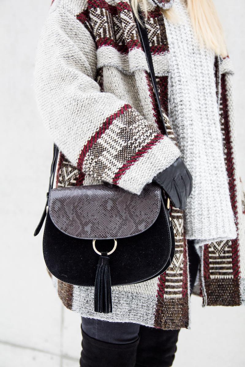 Modeblogger Winter Outfit, Inspiration, Azteken Cardigan, saddle bag,