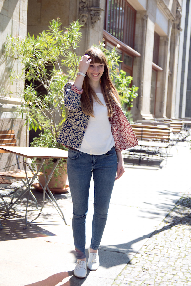 ripped jeans, flower jacket