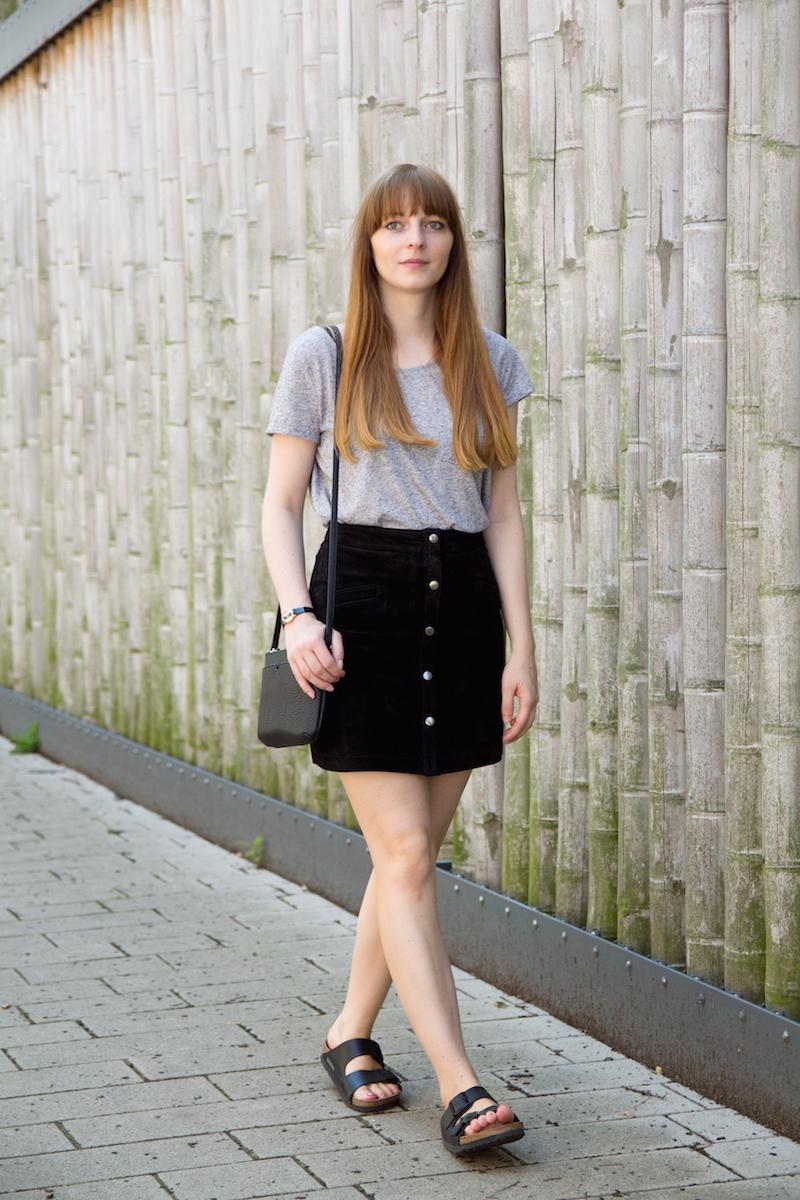 suede skirt, button down skirt, birkenstock, bloggerstyle