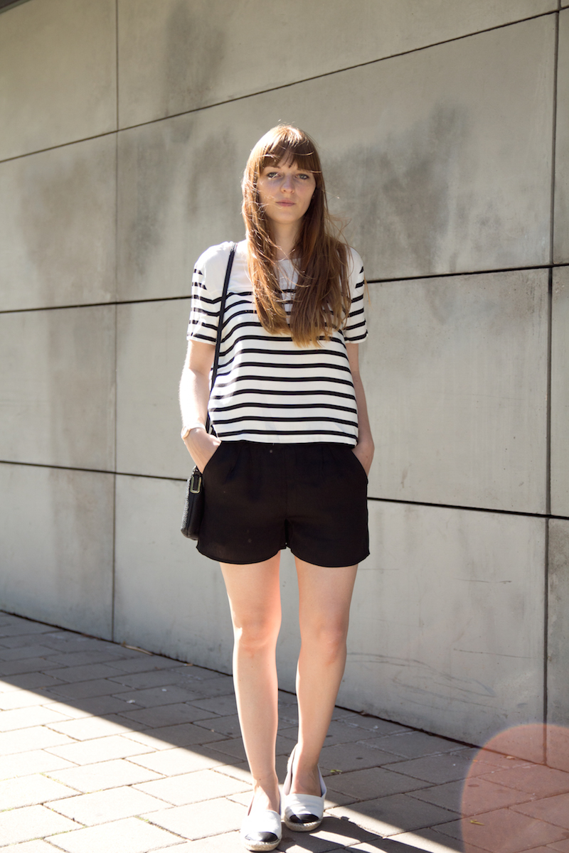 black and white, schwarz weiß, Outfit, Look, summer, Sommer, stripes, Espadrilles, how to wear