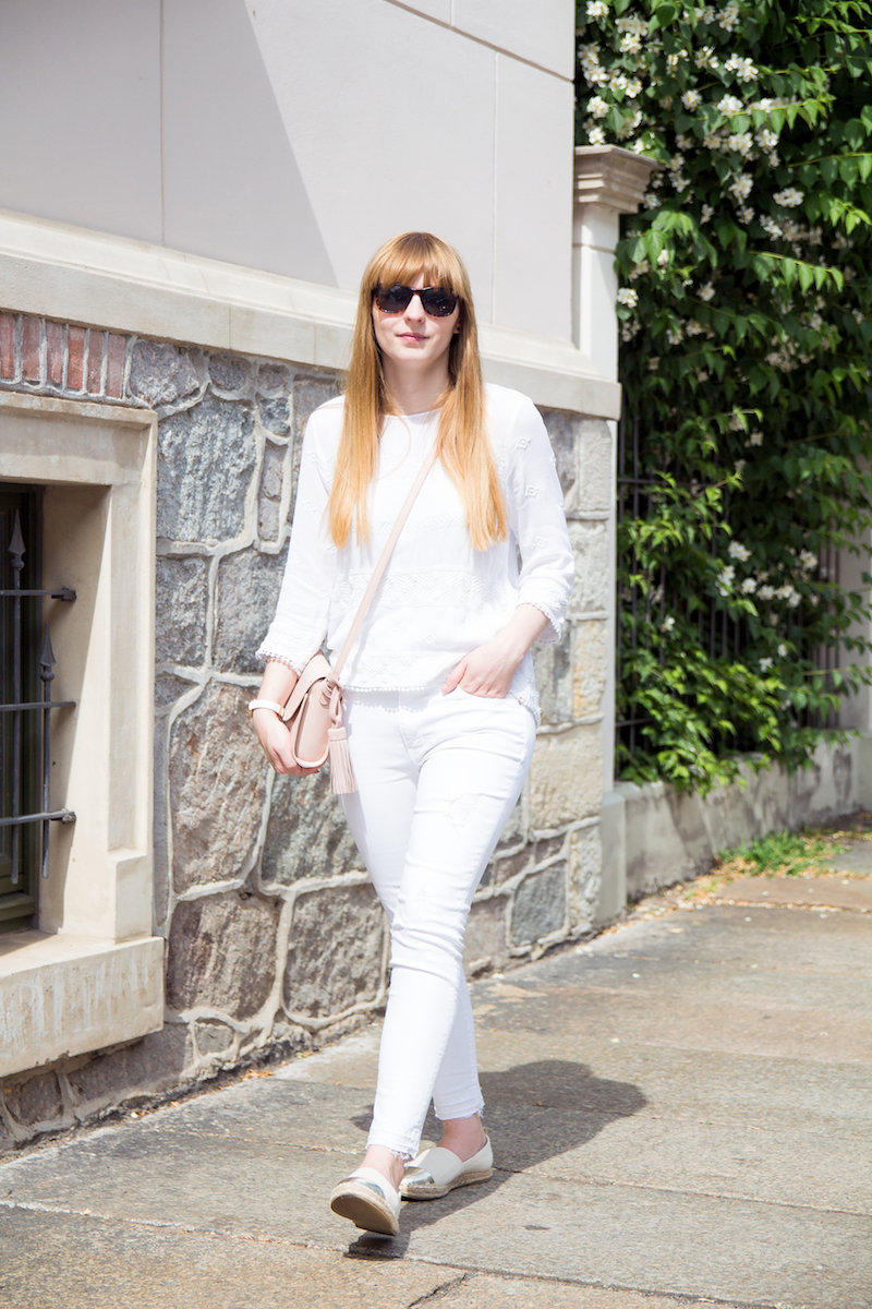 all white, Outfit, Look, Espadrilles, Metallic Cap Toe, Streetstyle