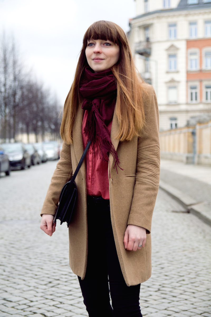camel coat, pink blouse, outfit