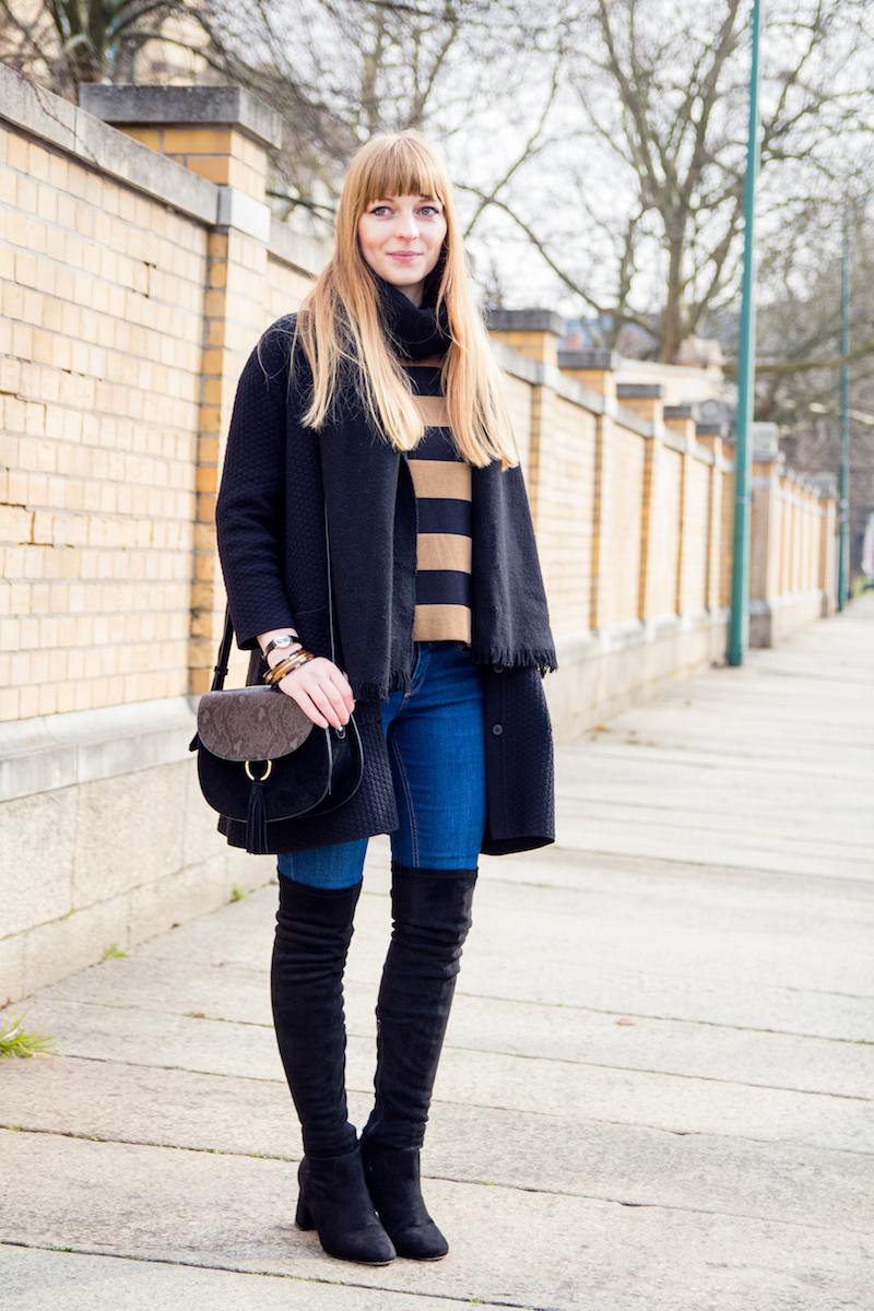 Modeblogger, Fashionblogger, Overknees, blue jeans, Jeans, wie kombiniere ich, how to wear, saddle bag