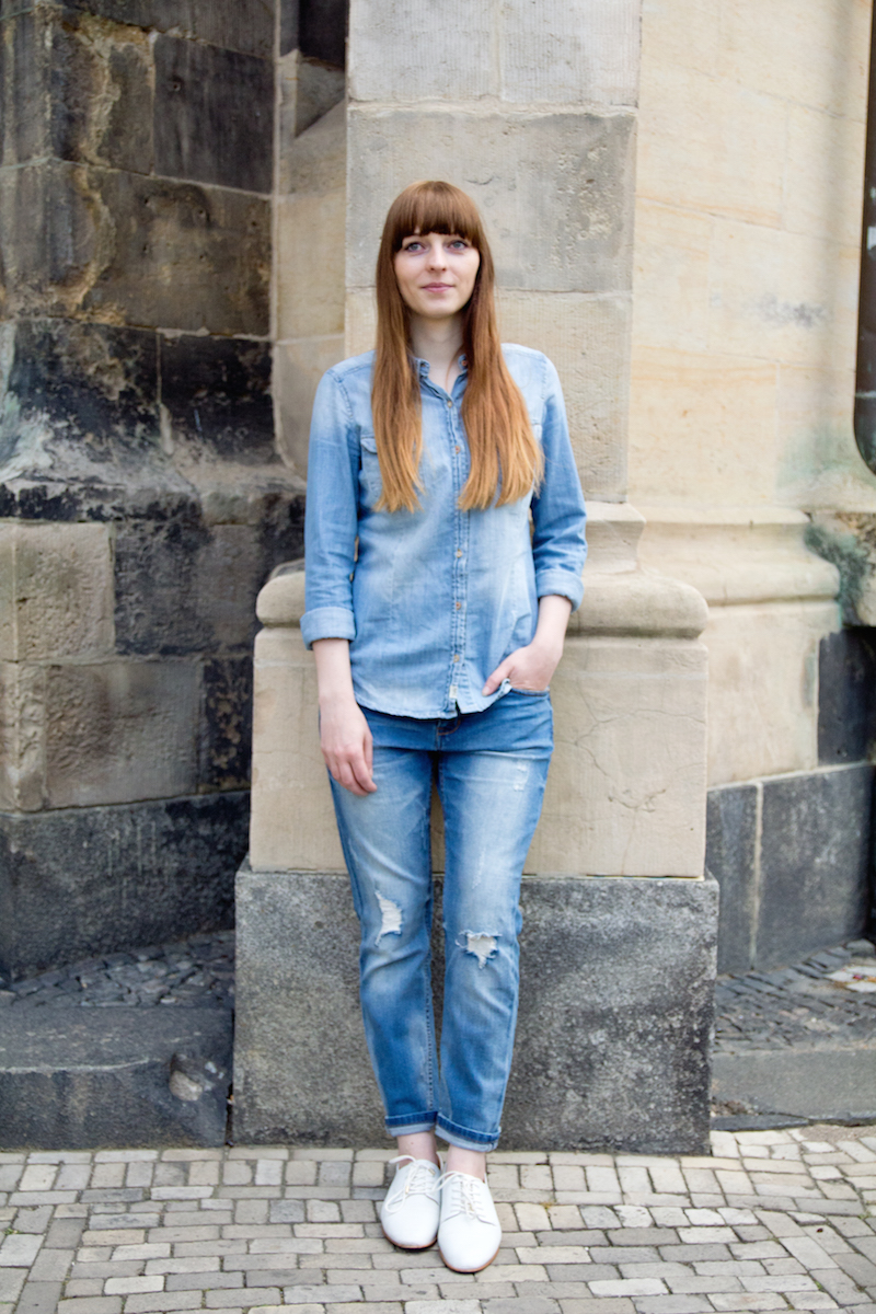 denim on denim, how to style, jeans on jeans, Jeanshemd zur Jeanshose