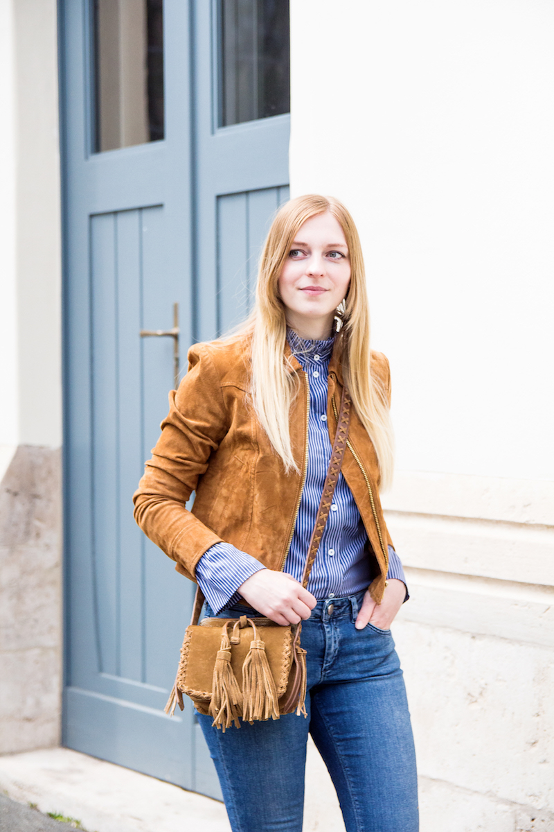 suede jacket, Statement sleeves, Outfit, how to wear