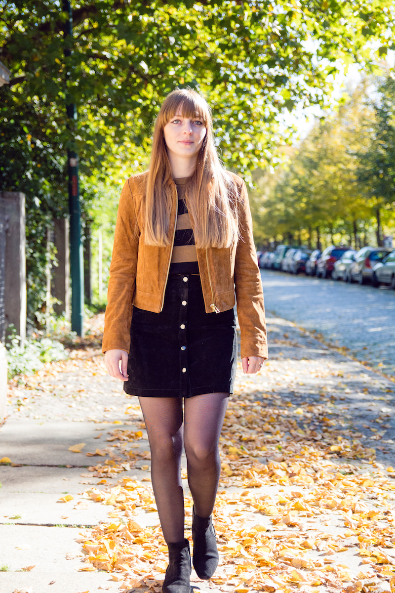 outfit, suede button front skirt, button down skirt, chelsea boots, Wildlederrock, Wildlederjacke, 70´s
