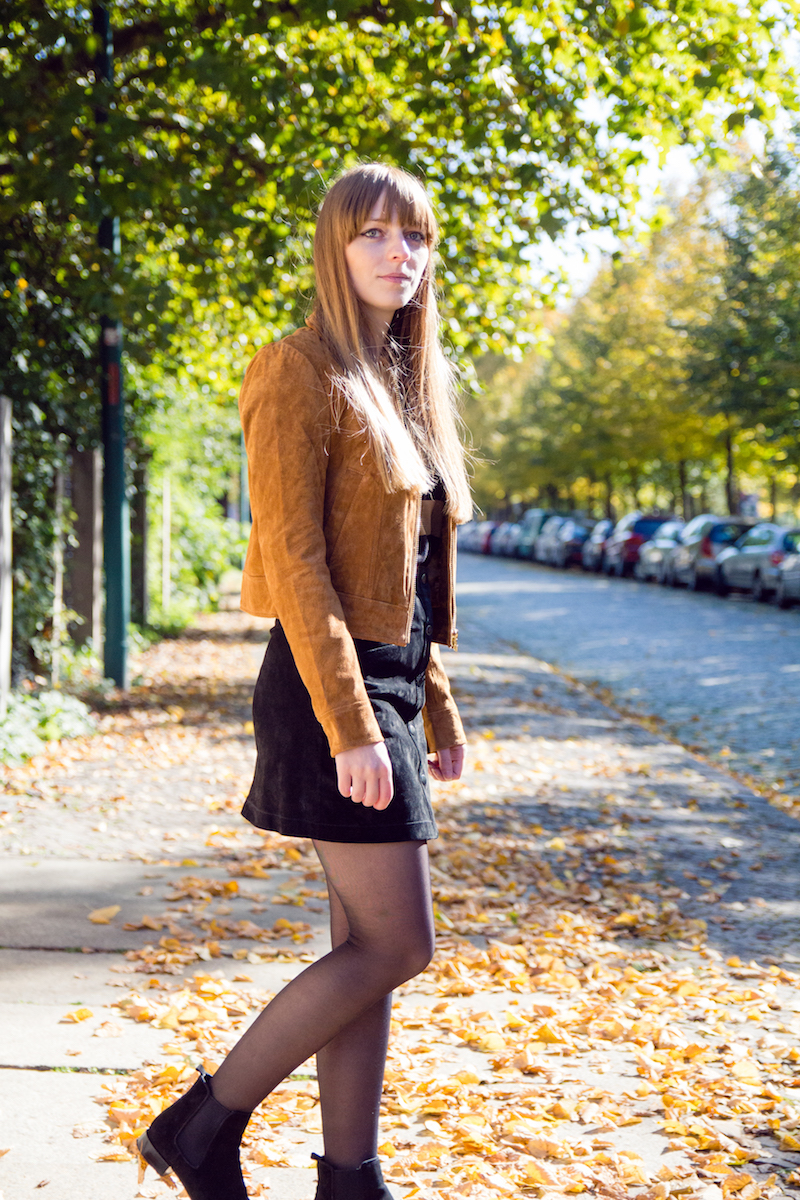 autumn look, siede jacket and skirt
