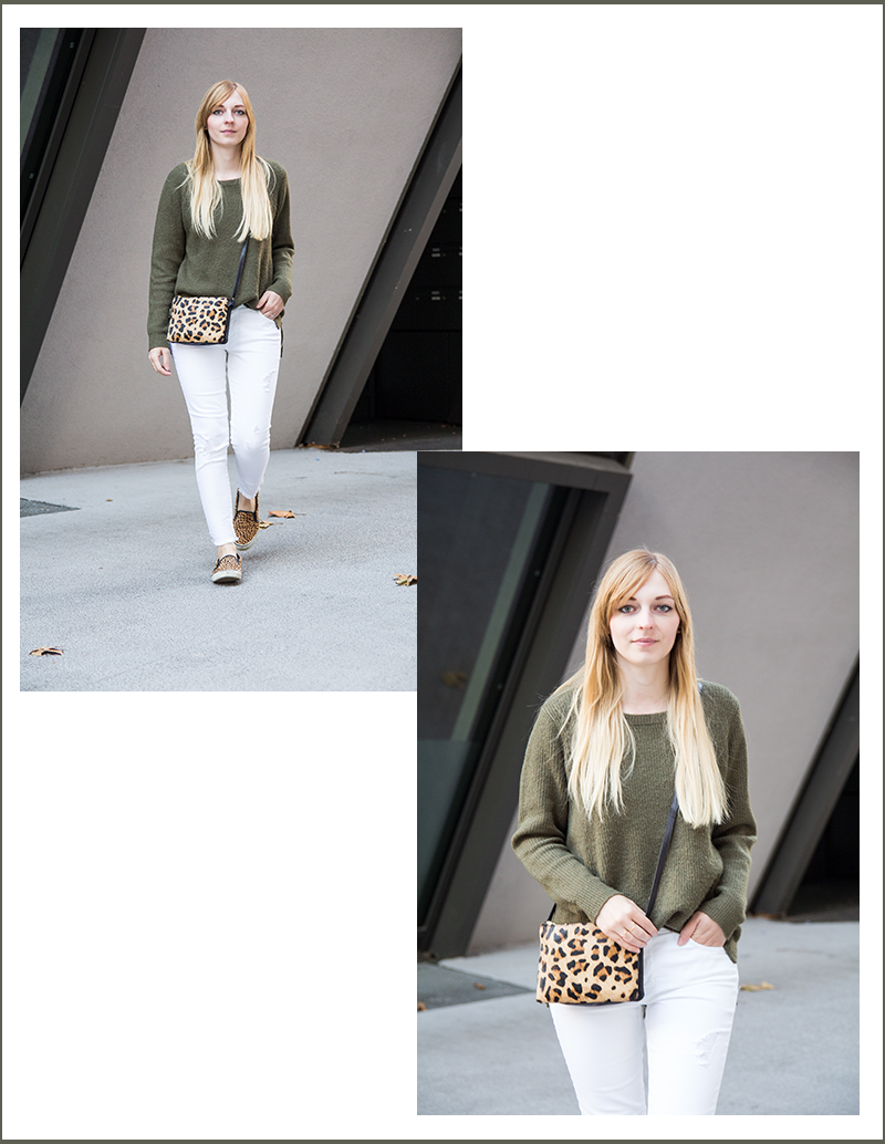 Outfit weiße Jeans, Khaki Mantel, Pullover, Herbst, autumn, Leopard Slipper, Leopard Muster, white jeans