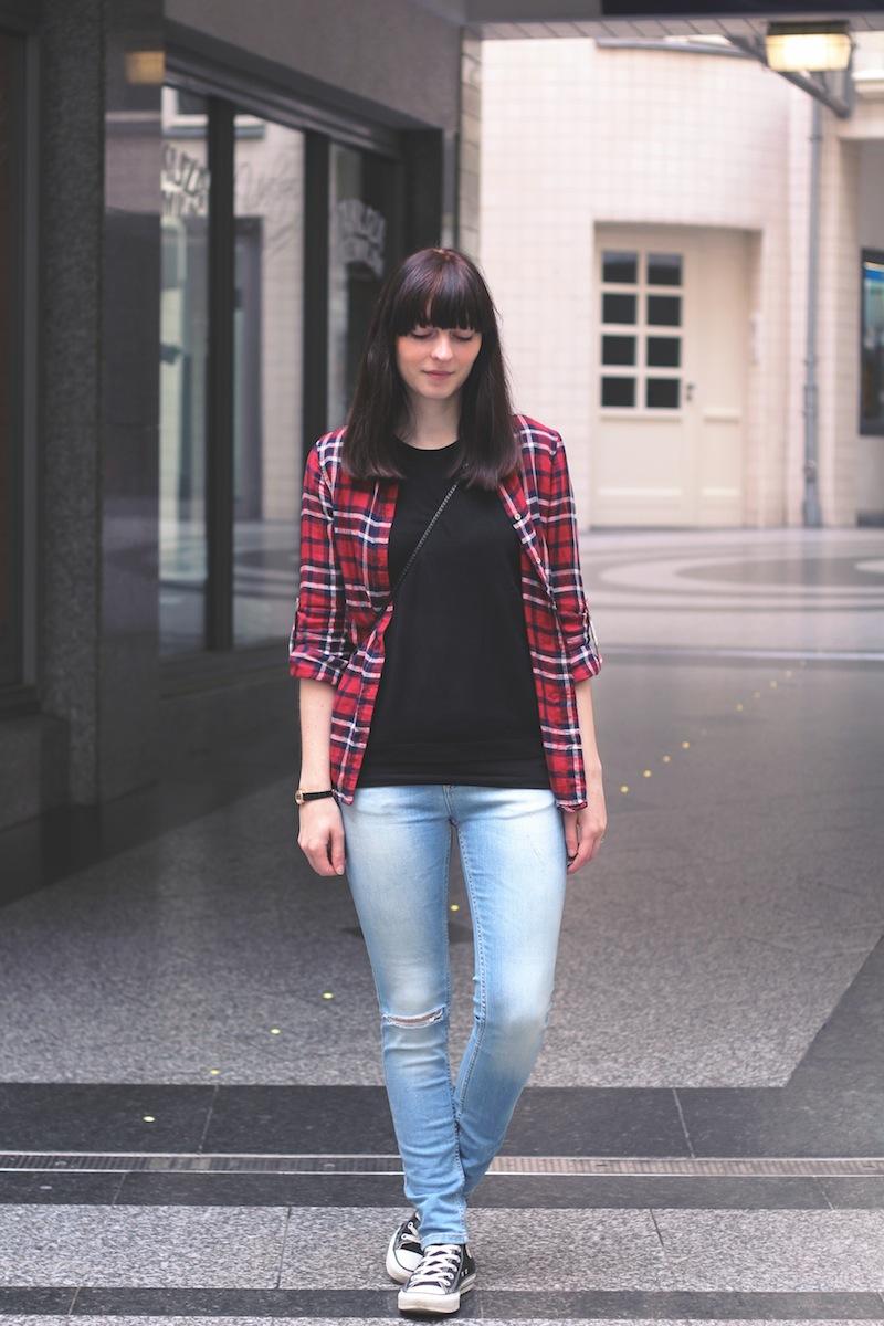 Outfit, Blogger, Modeblogger, plaid, karohemd, zerissene Jeans, ripped Jeans