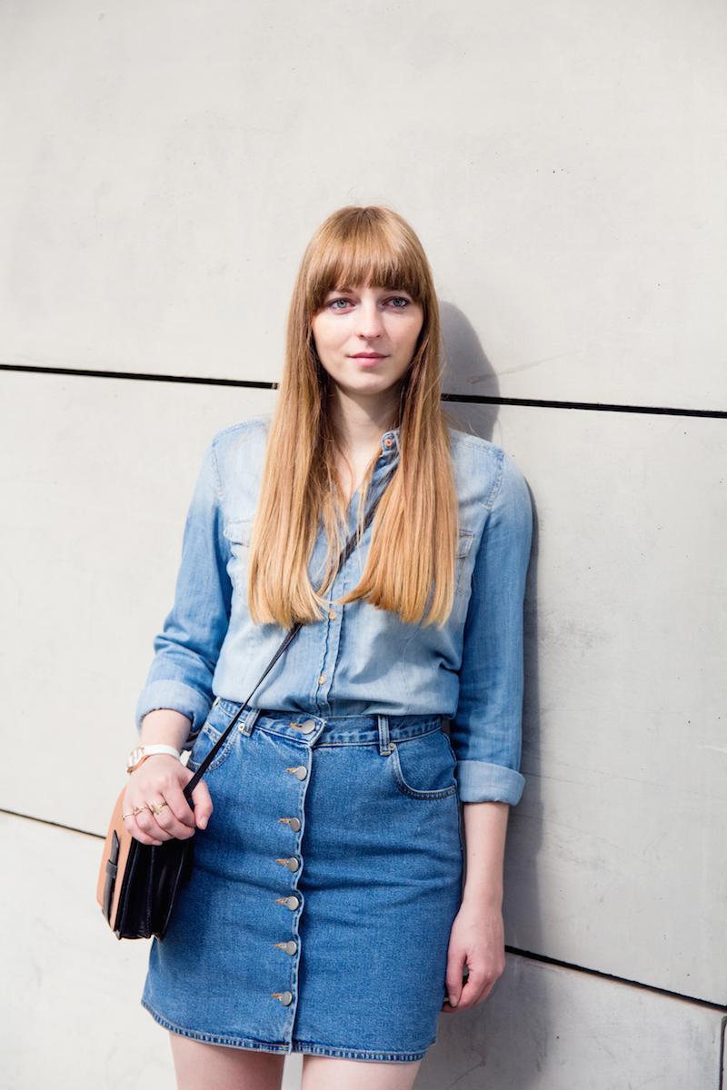 denim on denim, double denim, jeans on jeans, button down skirt,