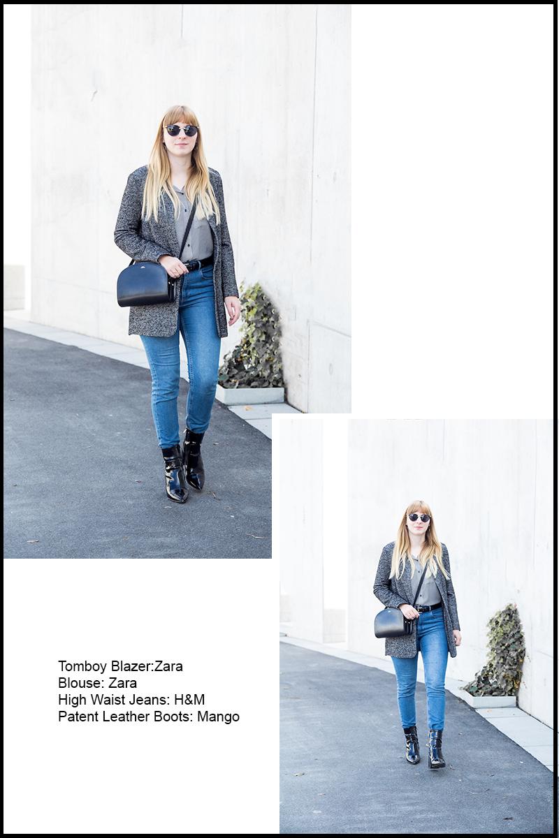 Outfit, grauer Blazer, Hahnentrittmuster, Lackschuhe, Patent letaler Boots, High waist Jeans, how to wear