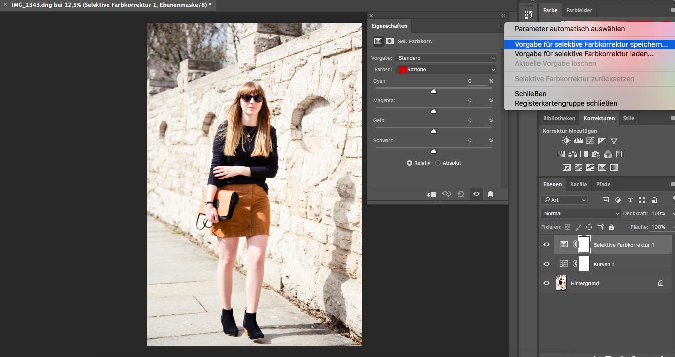 Tipps, Bildbearbeitung, Fashionblogger, Styleblog, Outfitbilder, selektive Farbkorrektur