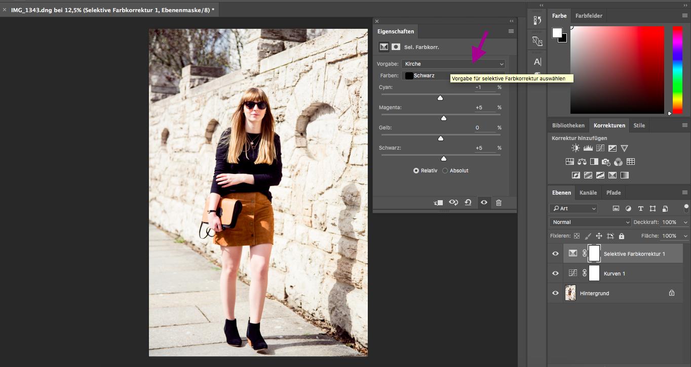 Bildbearbeitung, tutorial, selektive Farbkorrektur, Modeblog, Styleblog