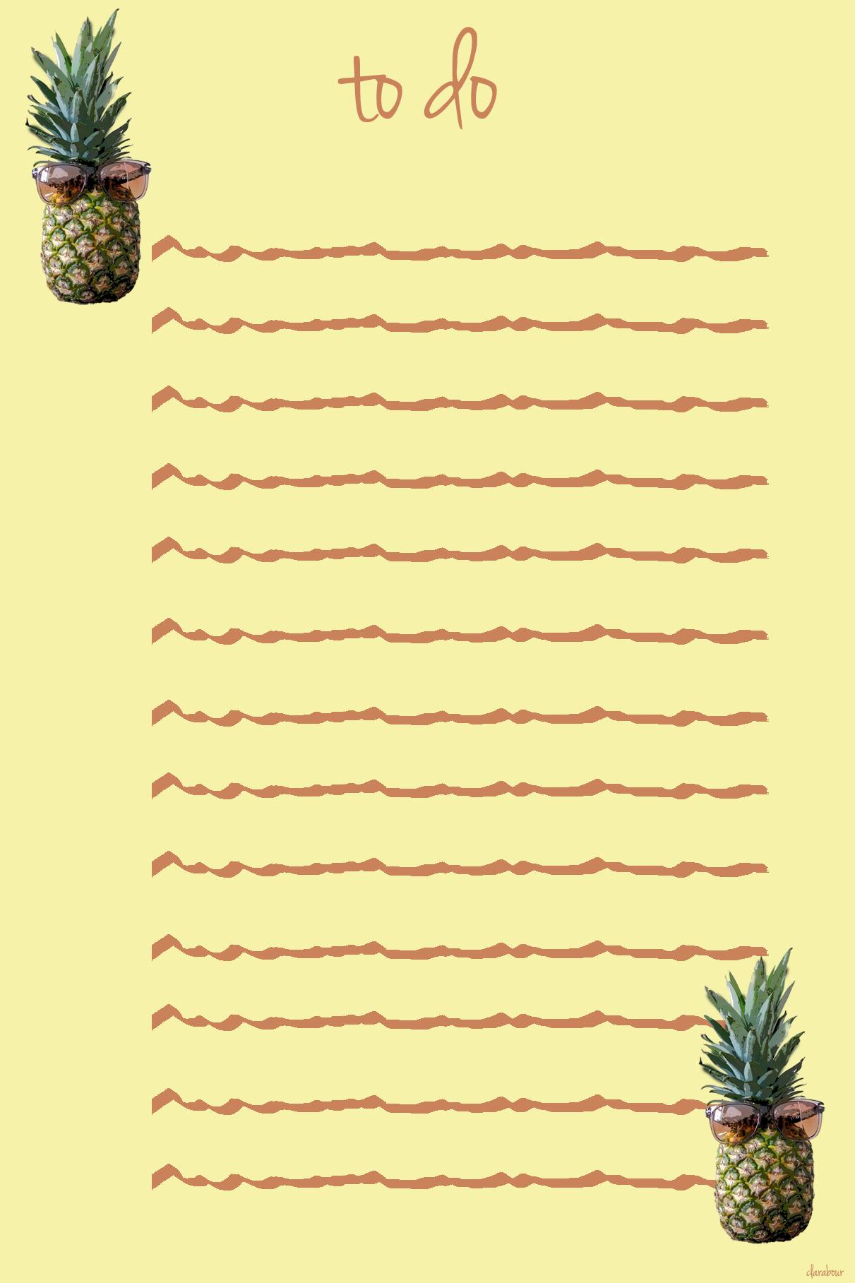 pineapple, sunglasses, to do liste, blogger, downloadable, freebie, kostenlos