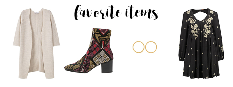 cardigan, favorites of the week, favorite items, boho dress, embroidered shoes, bestickte Schuhe