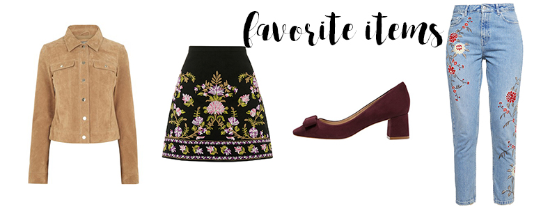 favorite items, embroidered skirt, Rock mit Stickerei, Jeans florales Muster,