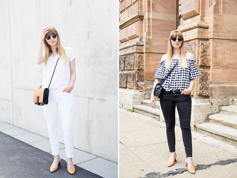 all white Outfit, komplett weiß, camel shoes, pumps, french chic, gingham, vichy karo, how to wear