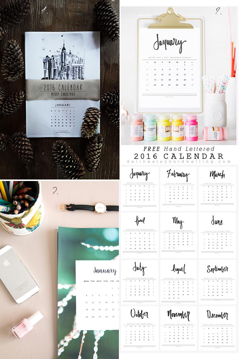 free printable calendars 2016, kostenlose Kalender