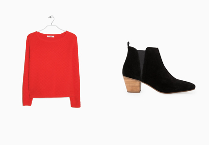 red sweater, ankleboots