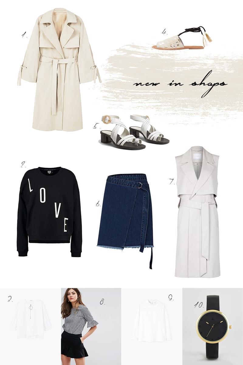 shopping, Trend, Trenchcoat, Schleife, statement Shirt, denim skirt