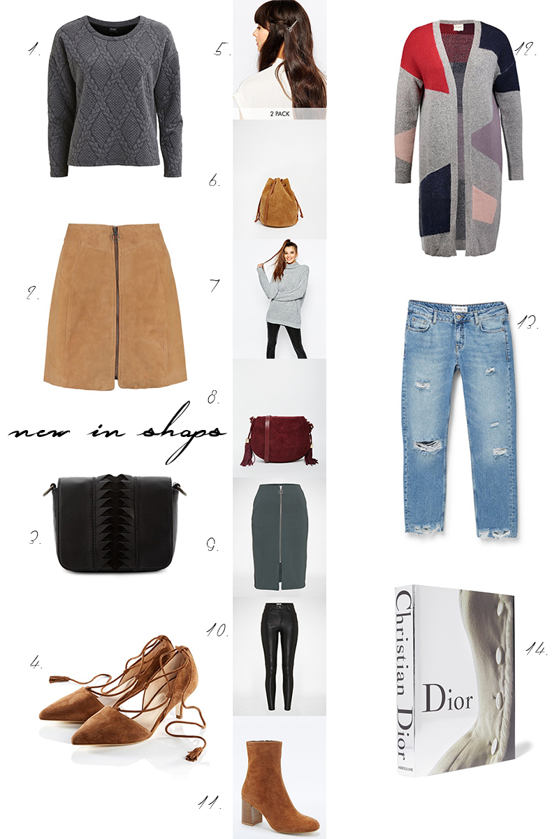 collage, shopping, new in shops, neu in, front zipper skirt, straight jeans mango, tan suede shoes,