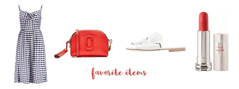 favorite items, gingham dress, Vichy Karo, rote Tasche, weiße Sandalen, schleife