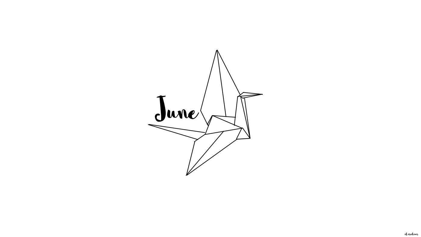 Wallpaper Juni, Origami, Kranich, crane, June, Freebie, Desktop, Hintergrund, background
