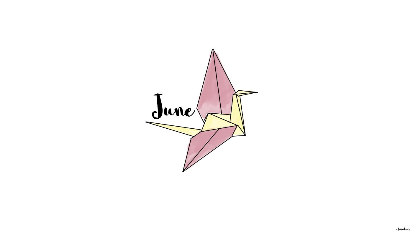 Freebie, Wallpaper, Desktop, Hintergrund, background, Origami, Kranich, crane, color, Farbe, Juni