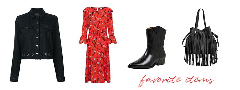 favorite items, cowboy, boots, fringes, bag, maxidress