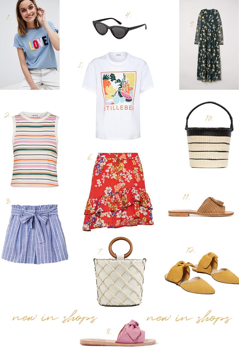 new in shops, shopping, flower skirt, summer, trend, Pantoletten