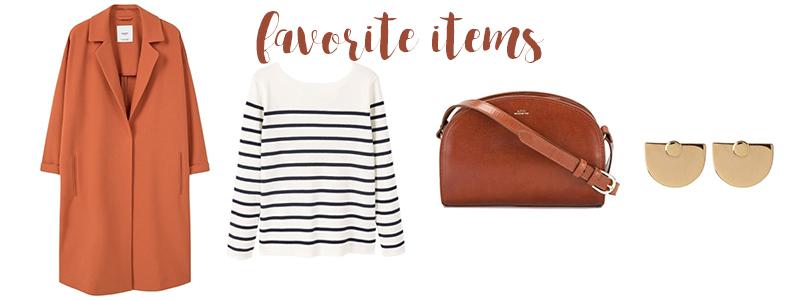 favorite items, half moon bag, autumn, orange coat