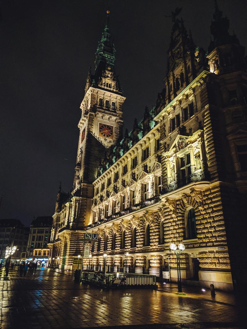 Hamburg, Rathaus, Nacht, Licht