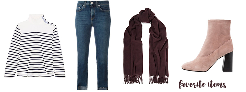 favorite items, striped, burgundy scarf