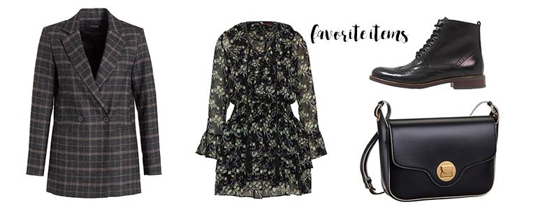 checked blazer, dress, flower print, winter