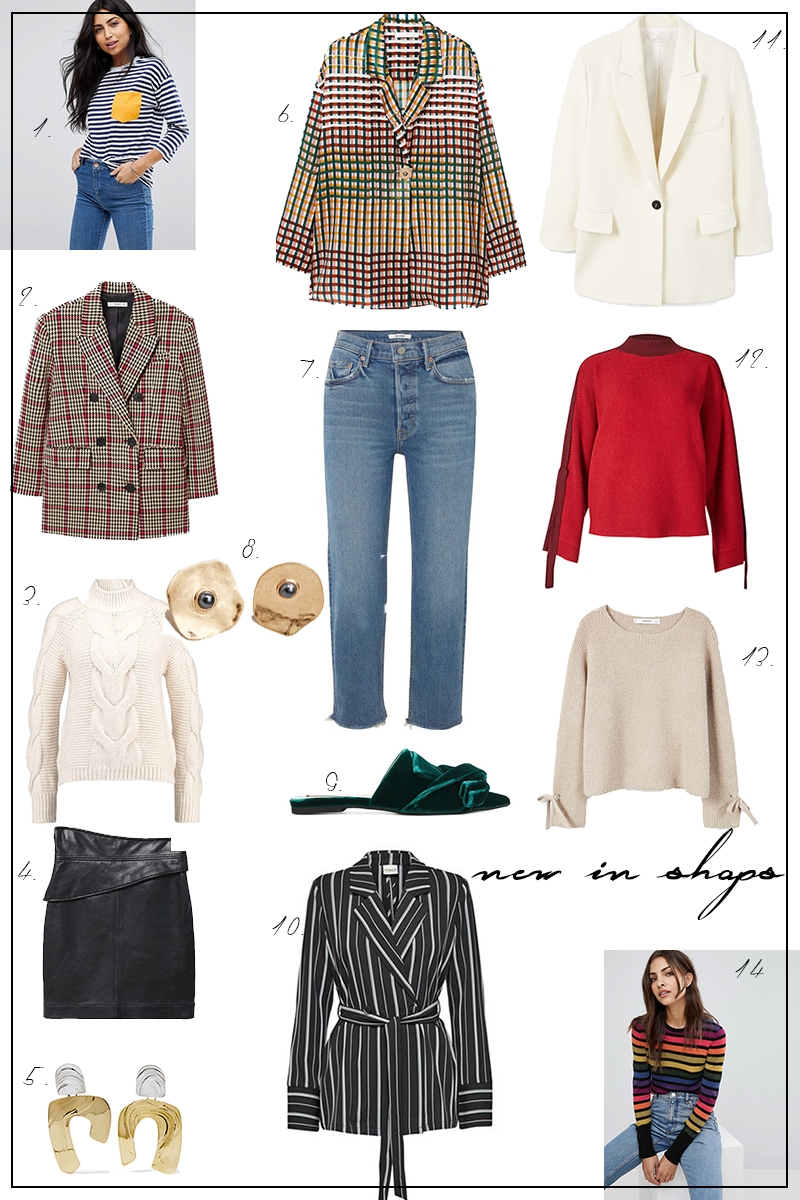 fall fashion, new in shops, checked Blazer, denim, leather skirt, knitwear, red sweater
