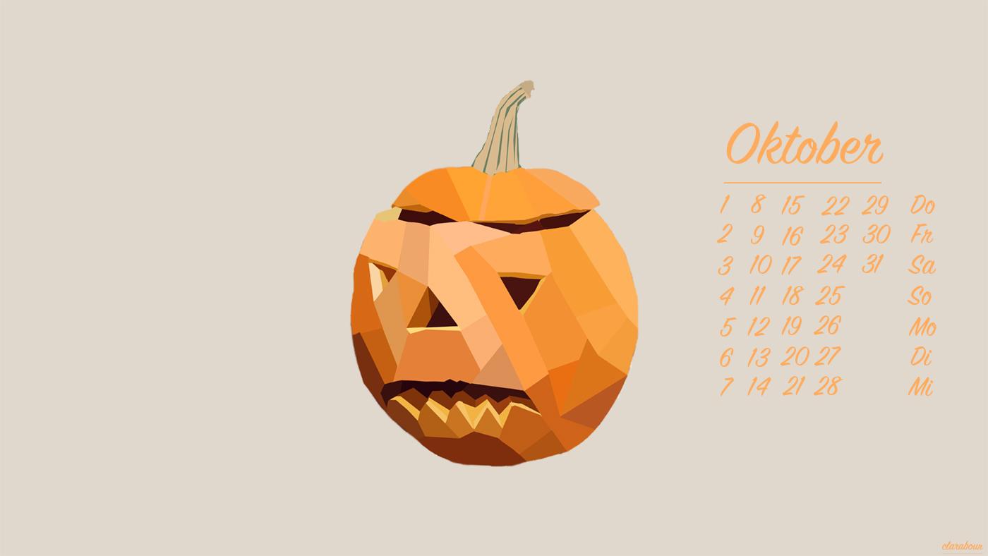 Wallpaper Kürbis, Oktober, kalender, freebie, Desktopbackground, Desktophintergrund